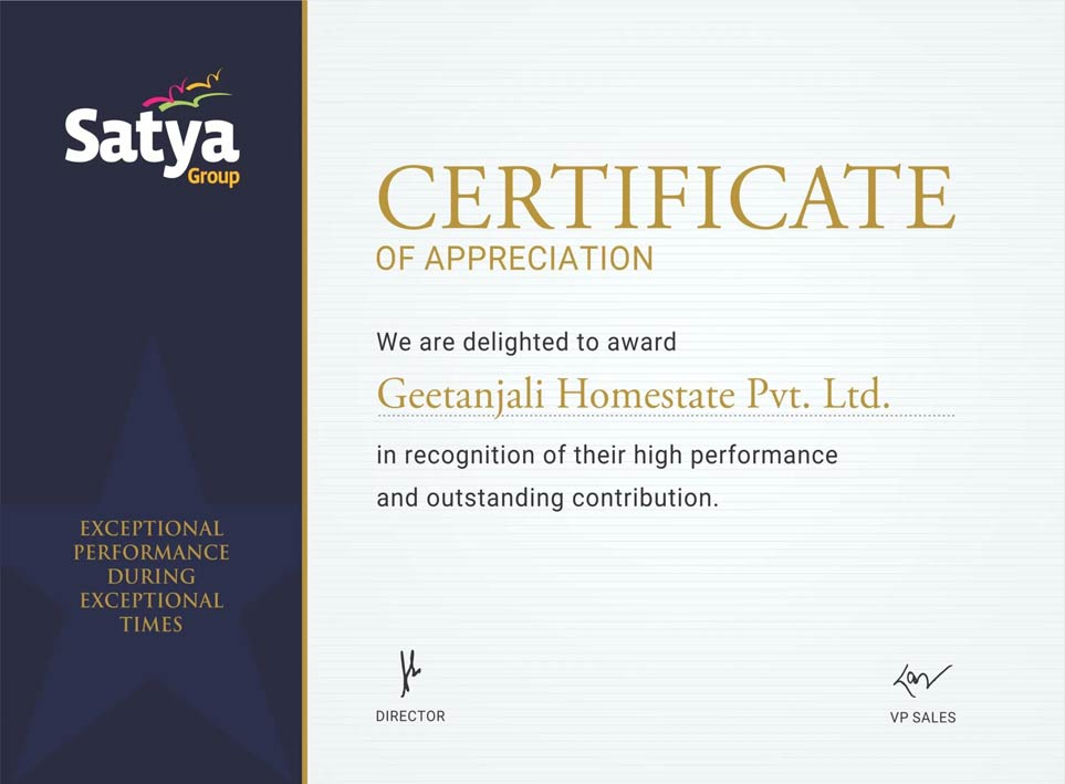 Certificate of Appreciation By Satya Group 2020