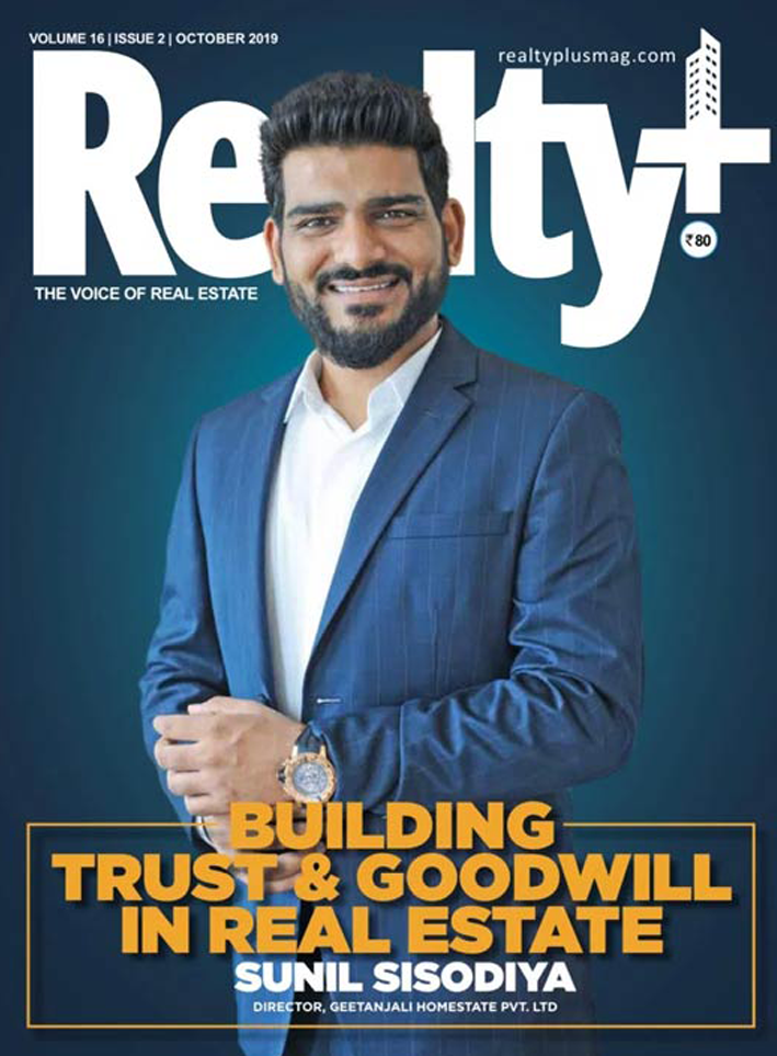Mr.Sunil Sisodiya Founder of Geetanjali Homestate Pvt Ltd on Cover Page of Realty+